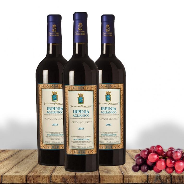 Molettieri Irpinia Aglianico DOC Cinque Querce 2013 - 3 bottiglie